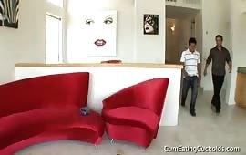 Porno cuckold nel salotto con la bella zoccola