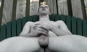 Masturbazione nel giardino con un biondo eccitato