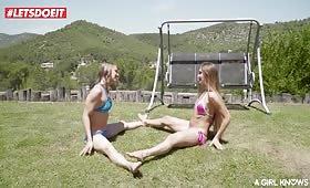 Sesso all'aperto nel giardino con due lesbiche eccitate